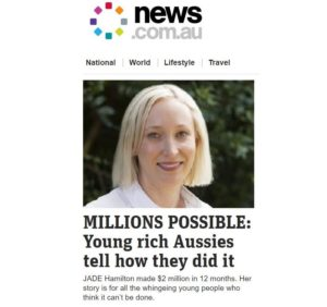 Jade Hamilton Headlines on Front Page of news.com.au